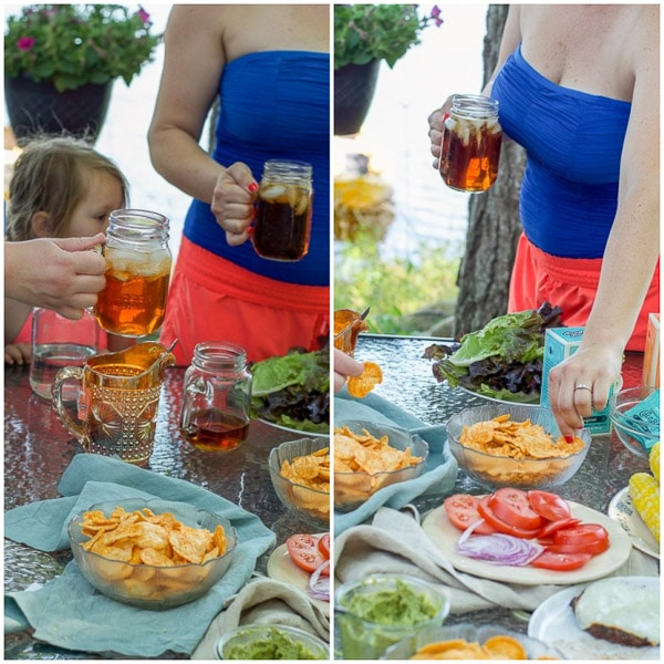 Iced tea in their hands and chips in their hands for the avocado cilantro dressing collage