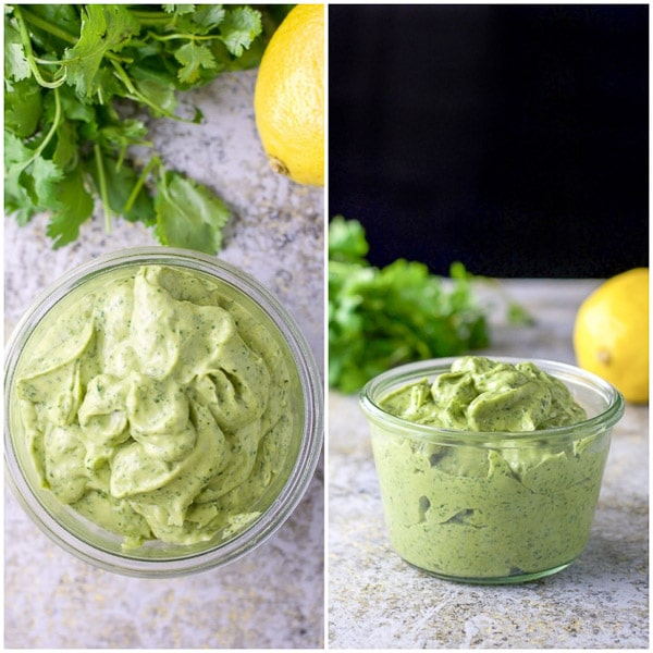 overhead and side view of the avocado cilantro dressing