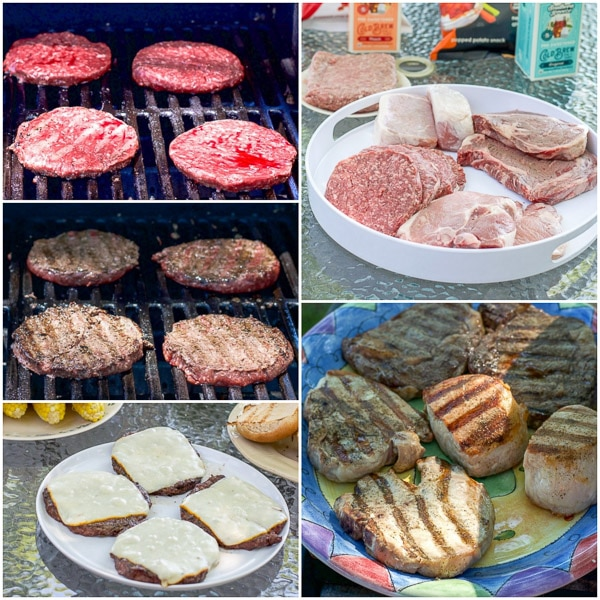 collage of the burgers cooking, with cheese, the raw meat on a plater and cooked for the avocado cilantro dressing