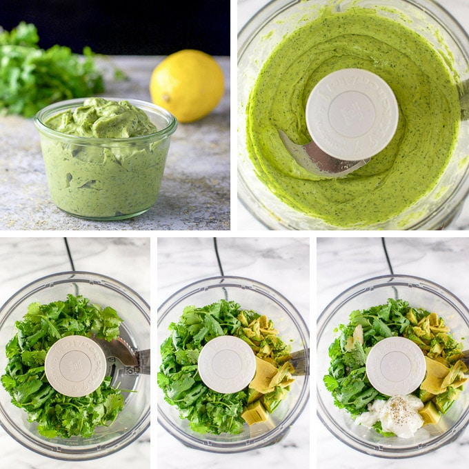 Collage of the avocado cilantro dressing getting processed