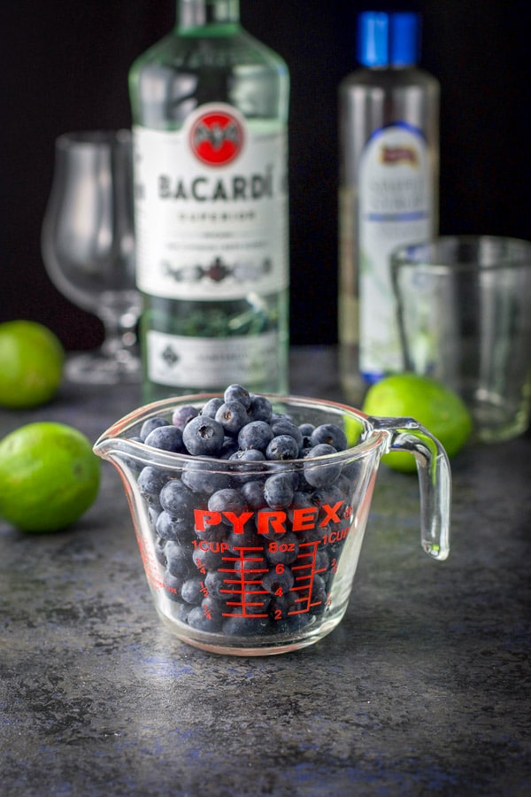 Blueberries, lime, rum and simple syrup for the blueberry daiquiri