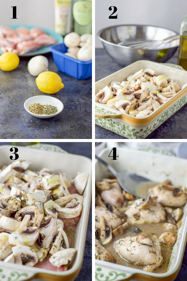 Collage of Process shots for Chicken with Lemon