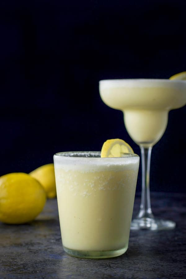 Lemon curd margarita in short glass