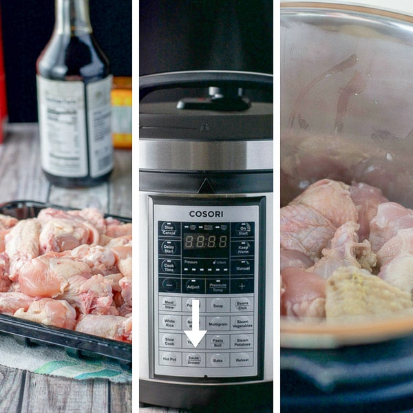 Ingredients for the pressure cooker chicken wings and the wings being steamed