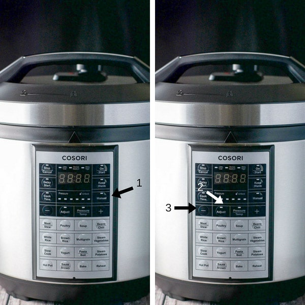 Collage showing the different buttons to push for the pressure cooker chicken wings