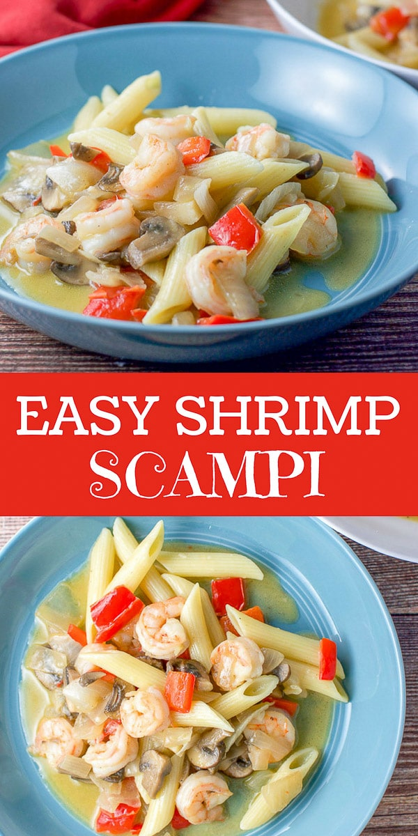 This easy shrimp scampi recipe differs from the classic so delightfully!  I use chunky vegetables and penne pasta to give this dish a delicious and satisfying bite! #shrimp #scampi #shrimpscampi #dishesdelish http://ddel.co/shrimp-scmpi
