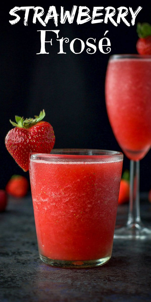 This strawberry frosé recipe is deliciously refreshing and delightfully full flavored!  The intriguing taste of the rosé keeps you smacking your lips as you sit by the poolside! #frosé #cocktail #drinks #dishesdelishcocktails https://ddel.co/frfsc