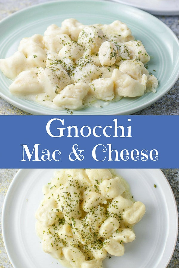 Imagine soft pillowy ricotta gnocchi covered with a delicious two cheese cream sauce and then baked to perfection!  So good! #gnocchi #gnocchimacandcheese #pasta #dishesdelish https://ddel.co/gmac
