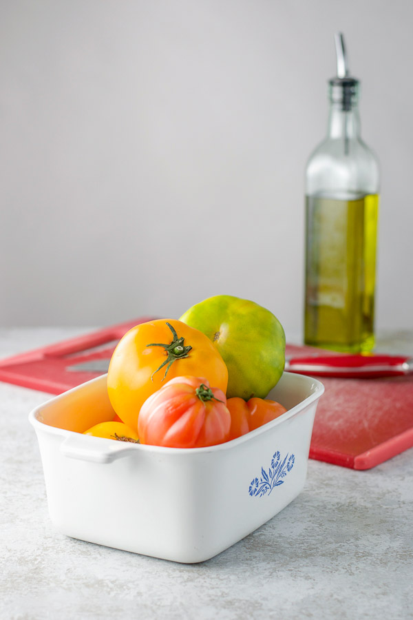 Tomatoes in a bowl for the baked tomatoes