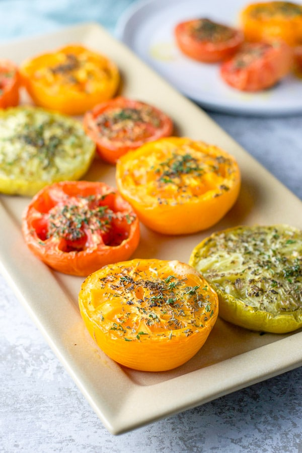 Close up of the baked tomatoes looking delicious