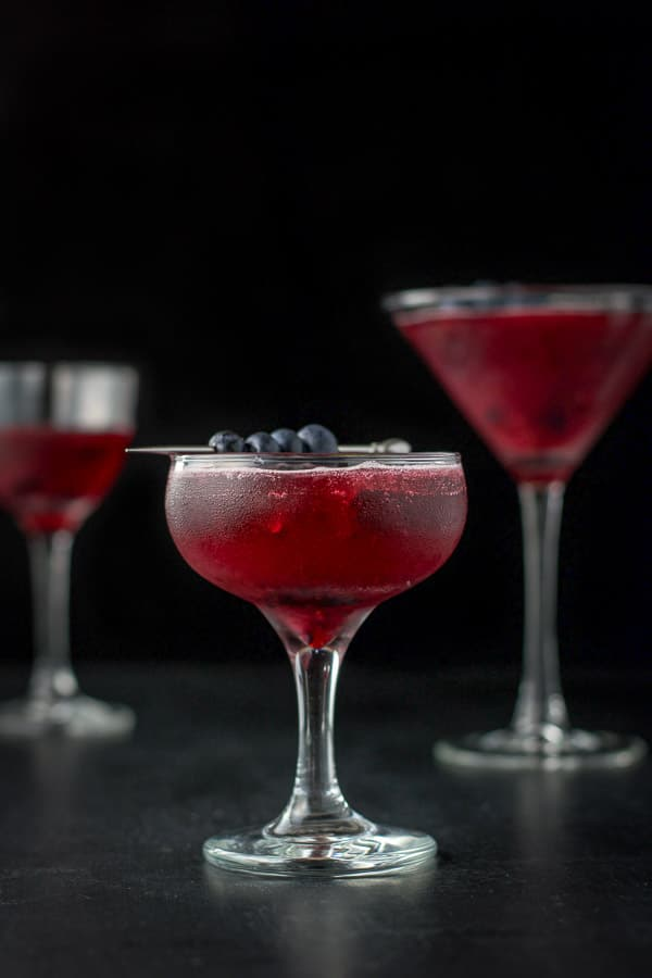 Vertical view of the coup with the blueberry mint cosmo