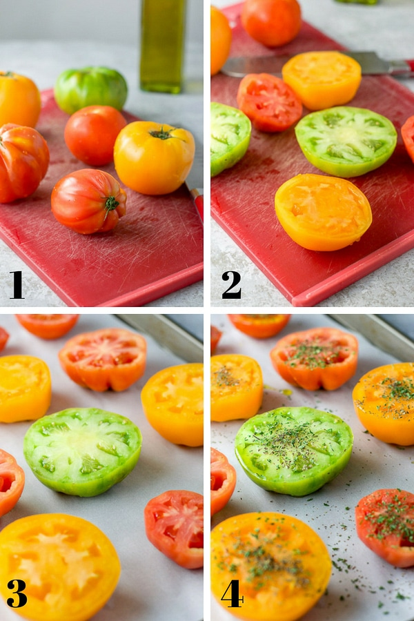 Collage of step by step shots for the baked tomatoes