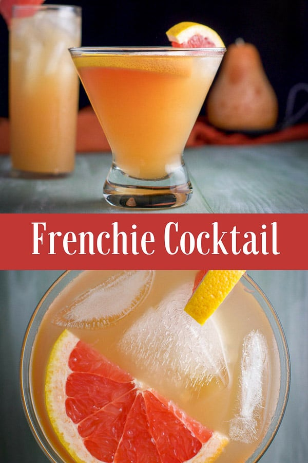 This Frenchie cocktail is delicious and pretty. There are only three ingredients: gin, elderberry liqueur and grapefruit juice.  It's so delicious and easy to drink that you're going to have to remind yourself to take sips! #cocktail #drink #frenchiecocktail #dishesdelish #dishesdelishcocktail https://ddel.co/freckt