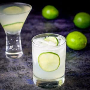 Two glasses filled with the vodka gimlet recipe - square