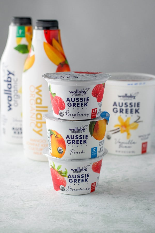 Aussie Greek yogurts and kefir for the yogurt parfait