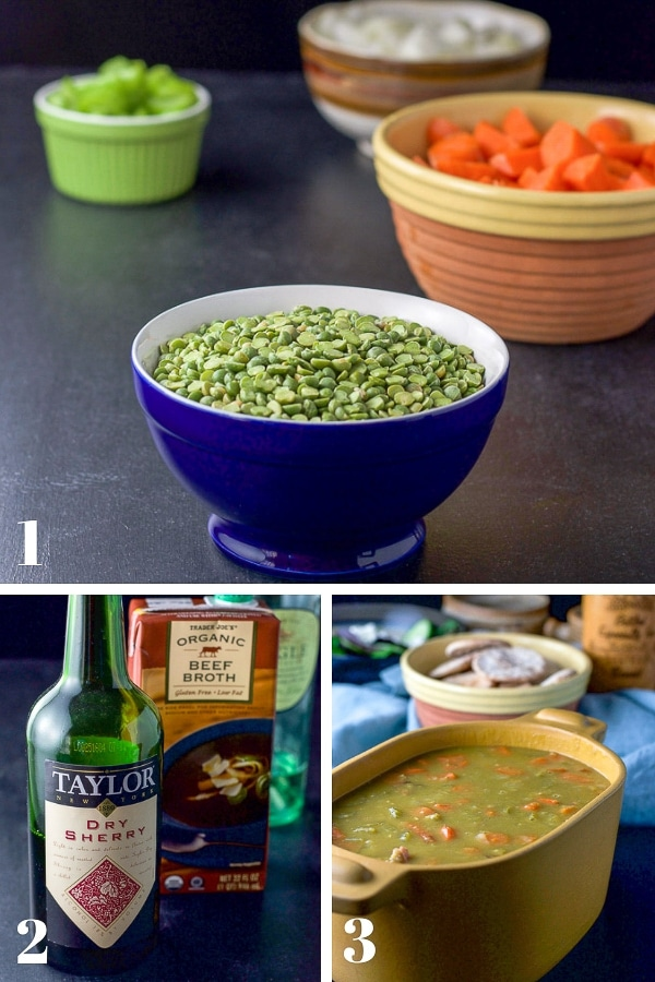 Collage of process shots for the Instant Pot Split Pea Soup