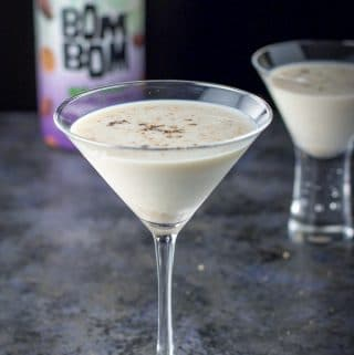 Nutmeg sprinkled on top of the Skinny Jane martini