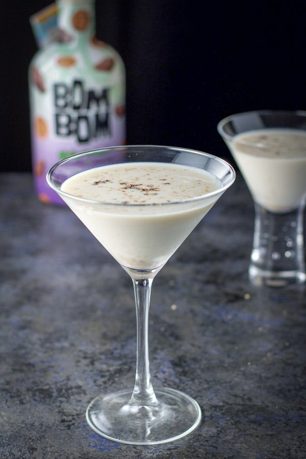 Nutmeg sprinkled on top of the Skinny Jane martini