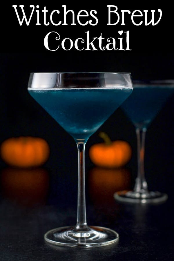 This witches brew cocktail isn't just for Halloween.  Of course it's perfect at that festive day, but it's yummy all year round, just call it the blue monster or some such thing. #halloween #witchesbrew #witchesbrewcocktail #cocktail #dishesdelish https://ddel.co/wbc