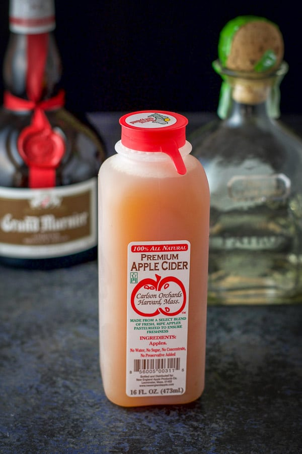 Apple cider, tequila and Grand Marnier for the apple cider margarita