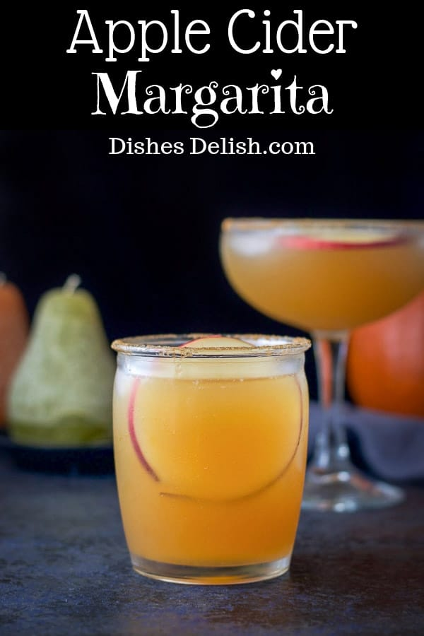 Imagining sipping this apple cider margarita at your next Autumn dinner party!  It's delicious, bold and beautiful!  And there are only 3 ingredients!  Perfect!  #apple #applecider #margarita #dishesdelish https://ddel.co/acm