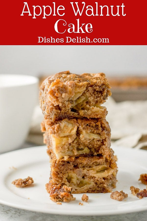 Taking a bite of this apple walnut cake is like taking a bite out of an Autumn day!!  It's chockfull of apples, moist and totally delicious! #apples #applecake #fallcake #dishesdelish https://ddel.co/awsc