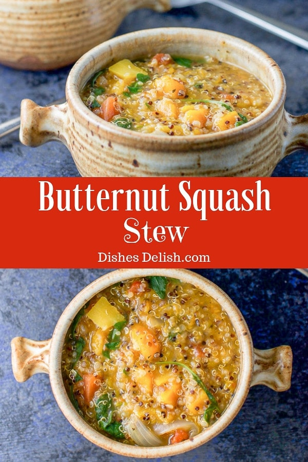 This hearty and delicious butternut squash stew has quinoa and arugula is packed with so much flavor that it will satisfy every comfort food need! #butternutsquash #stew #quinoa #dishesdelish https://ddel.co/bss