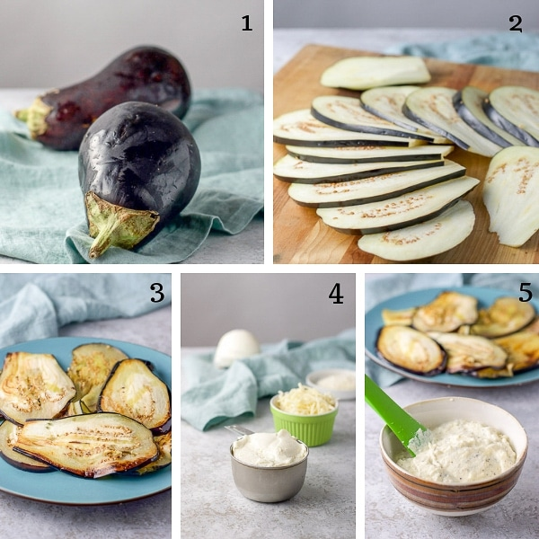 Collage for process shots for the Eggplant Rollatini