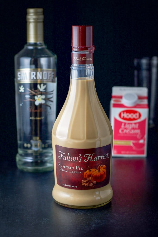 Pumpkin spice liqueur, vanilla vodka and light cream for the pumpkin spice martini