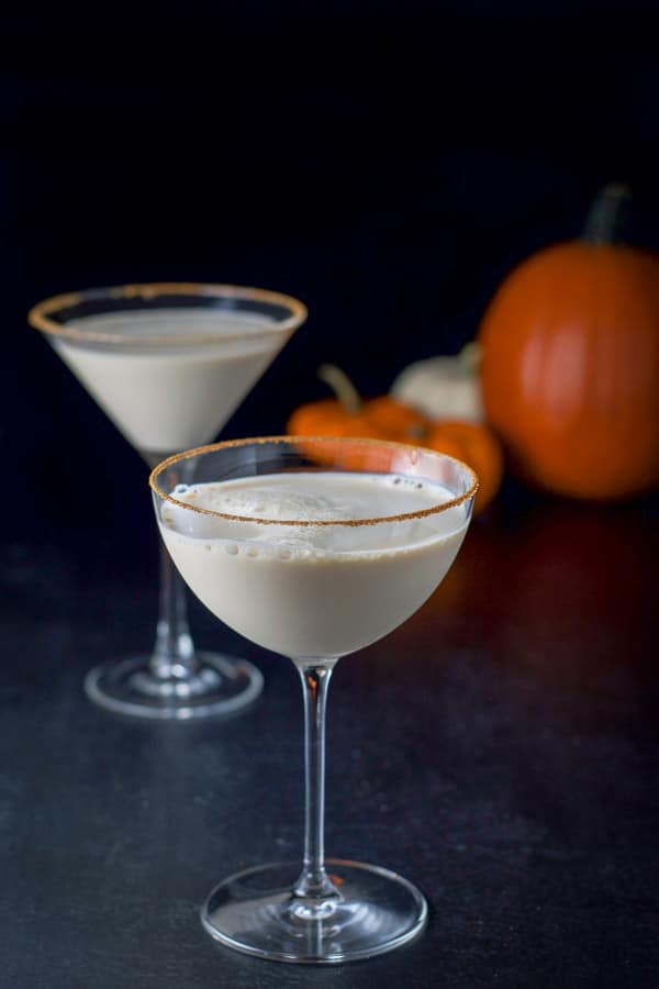 Bowl glass filled with pumpkin spice martini