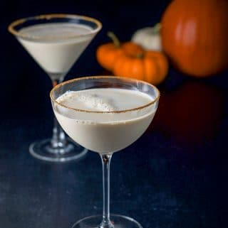 Another shot of the pumpkin spice martini, bowl glass in front