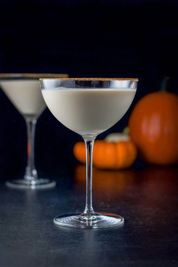 Vertical view of the bowl glass of pumpkin spice martini