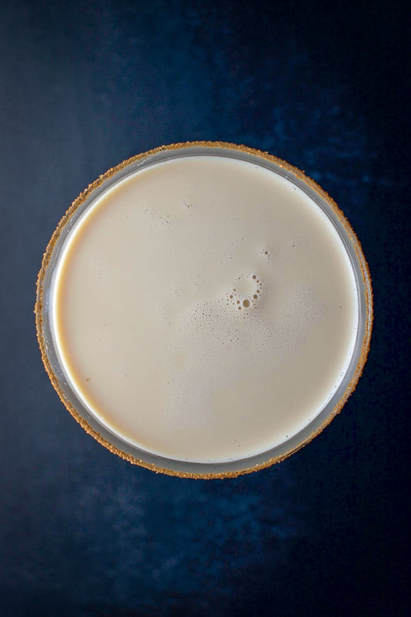Overhead view of the pumpkin spice martini with sugar and cinnamon on the rim