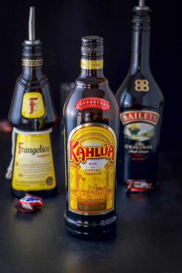 Kahlúa, Frangelico and Baileys for the snickers shot