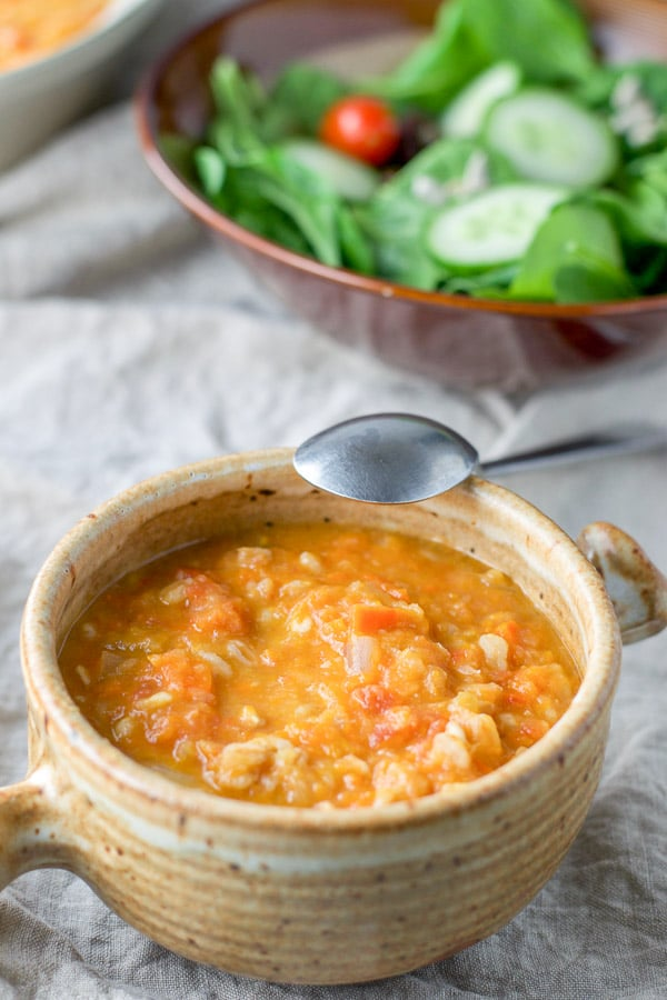 Close up of the Tuscan white bean soup