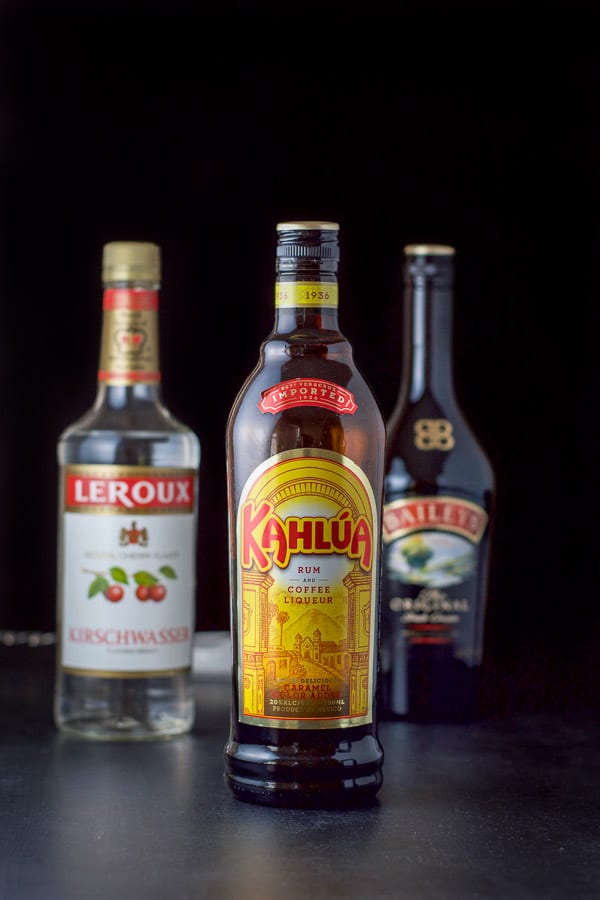Kahlúa, cherry brandy and Baileys for the black forest cake shot