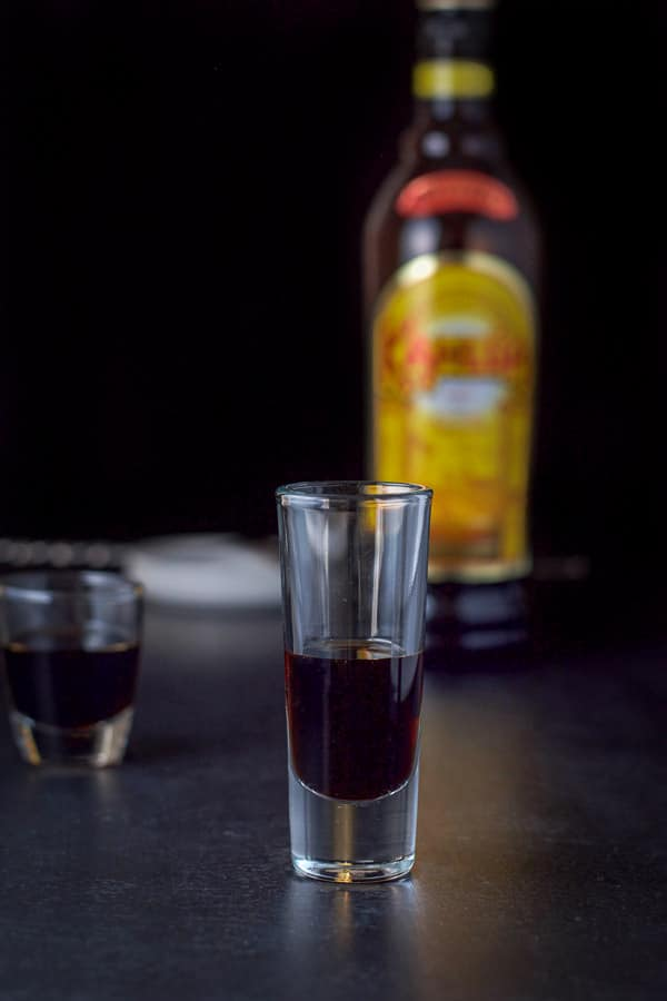 Kahlúa poured for the black forest cake shot