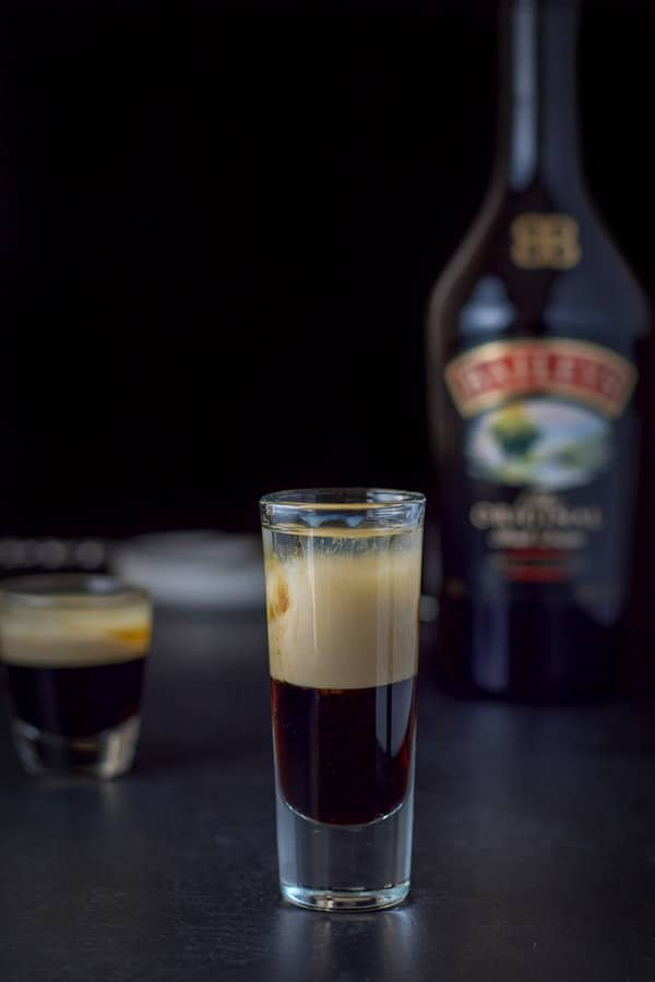 Baileys layered into the black forest cake shot