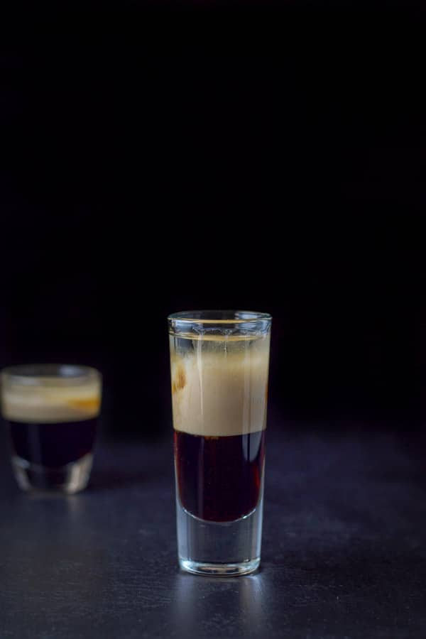 Vertical view of the black forest cake shot