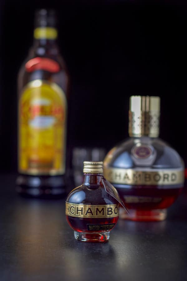 Chambord and Kahlúa for the chocolate raspberry kiss shot