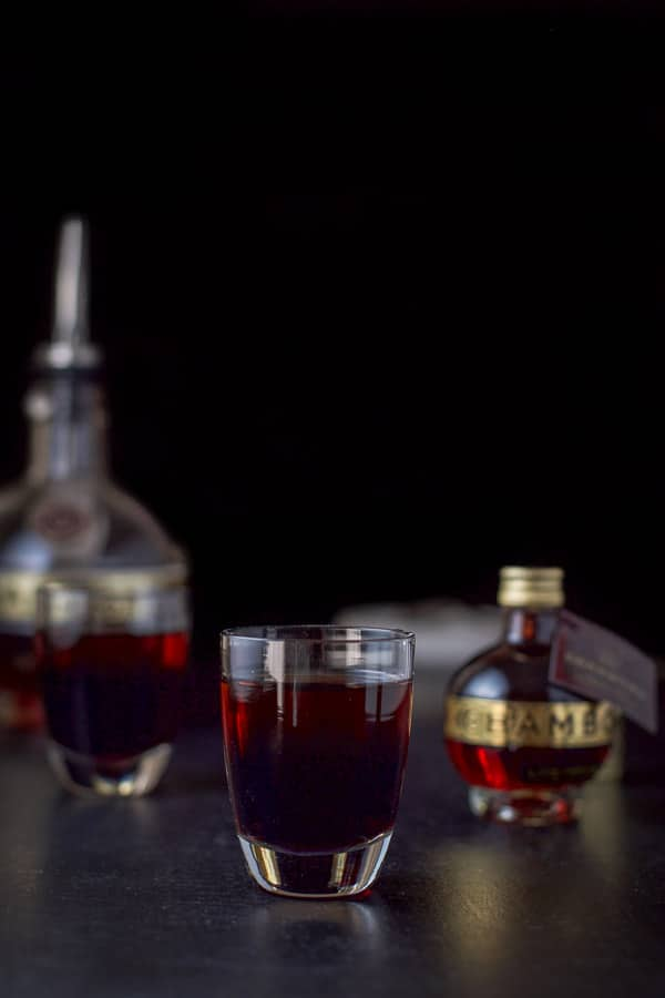 Chambord layered into the chocolate raspberry kiss shot