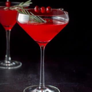 Cranberry cosmo in two martini glasses