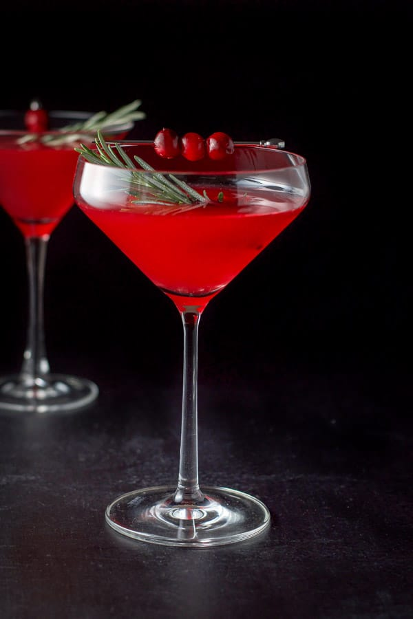 Cranberry cosmo in two martini glasses