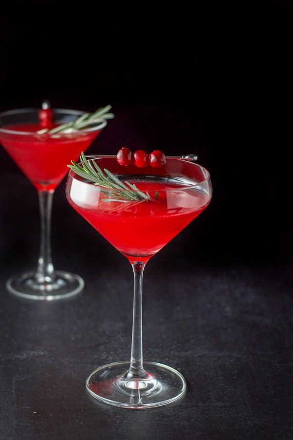 Fun martini glass filled with the cranberry cosmo