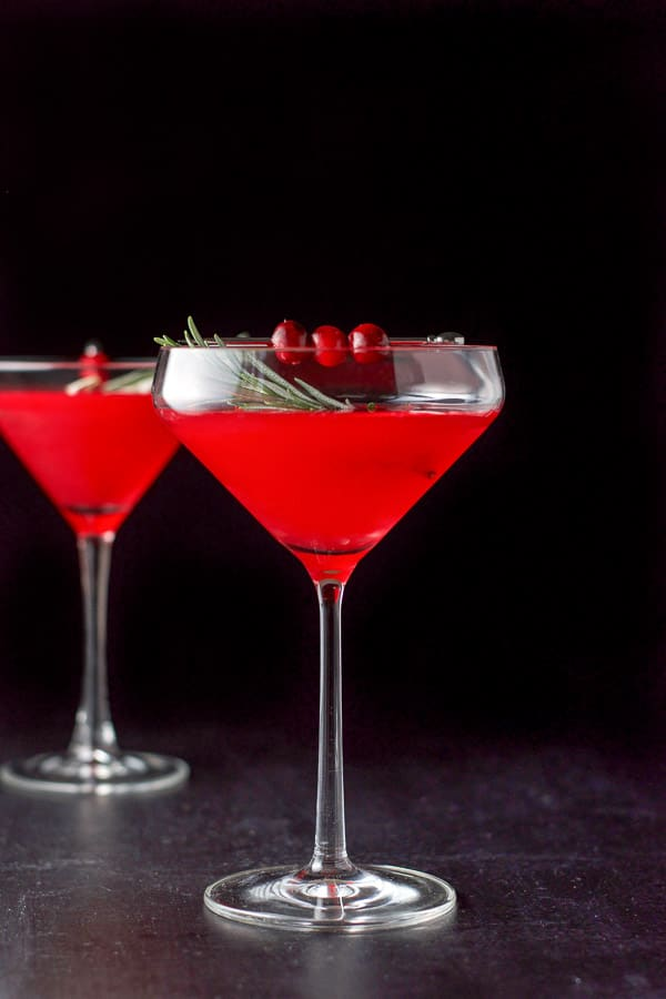 Vertical view of the cranberry cosmo