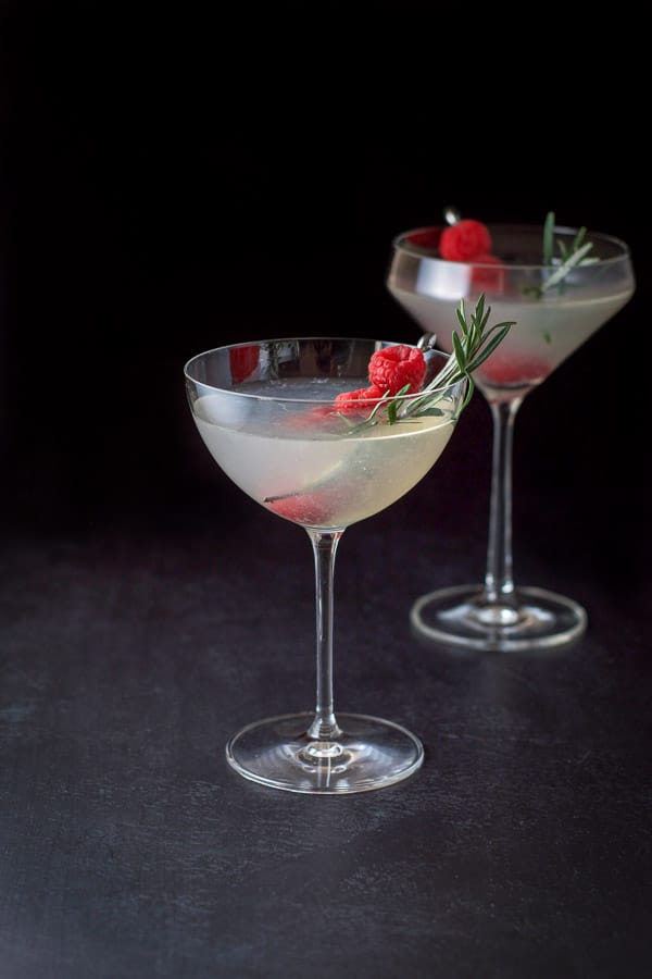 Martini glasses filled with the mistletoe martini