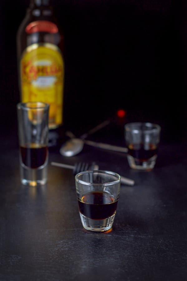 Kahlua poured for the peppermint patty shot