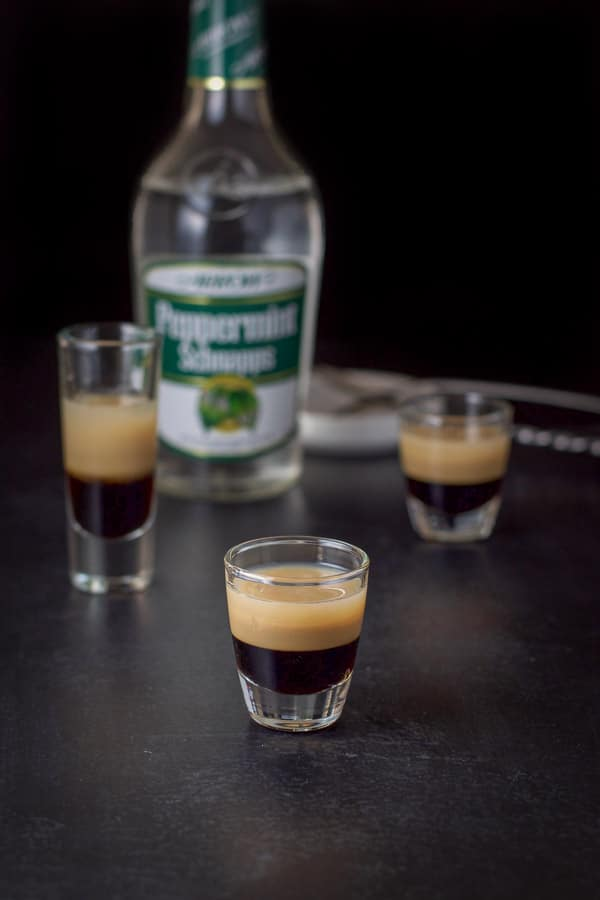 peppermint schnapps layered in for the peppermint patty shot