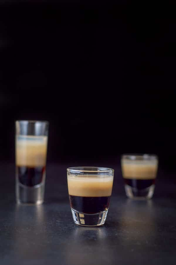 vertical view of the short glass of the peppermint patty shot