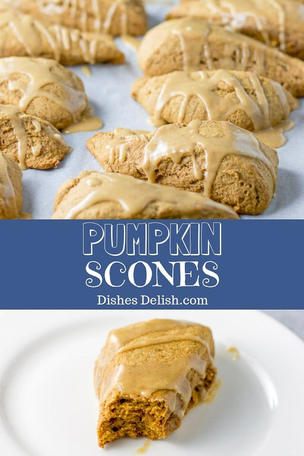 These pumpkin scones are moist, have great texture and are so delicious that you won't just want to eat these in the fall and winter months!  #pumpkin #scones #dishesdelish